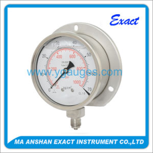 Glycerine or Silicone Oil Filled Pressure Gauge Back Flange Mounted pictures & photos