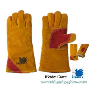 Cow Split Leather Full Lined Welder Work Glove-6517 pictures & photos