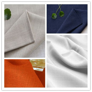 Woven Textile Linen Slub Nylon Cotton Fabric for Garment