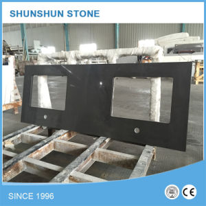Prefabricated Decoration Solid Surface Quartz Stone Black Benchtop pictures & photos