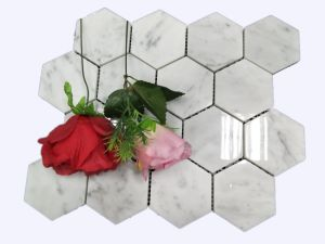 Hexagonal Carrara White Marble Mosaic for Decoration pictures & photos