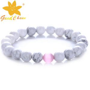 SMB-16112809 10mm White Color Turquoise Semi Precious Stone Bracelets