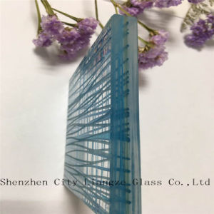 Art Glass/Sandwich Glass/Safety Glass/Tinted Laminated Glass with Blue Line pictures & photos