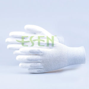 ESD PU Coated Gloves Carbon Fiber Gloves Nylon Knit Gloves pictures & photos