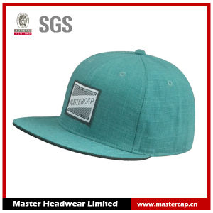 Green Flat Brim Snapback Hat with Woven Patch