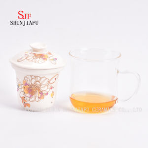 Flower Tea Cup Ceramic Filter Glass 400ml pictures & photos