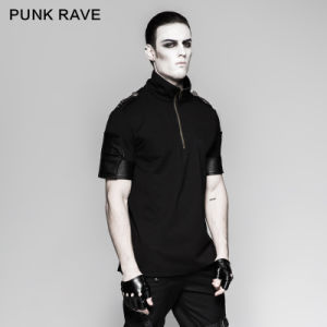 Performance Punk Black Broken Holes Gloves Short Leather Gloves (S-215) pictures & photos