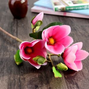 Artifical Magnolia Flower with 3 Heads for Home/Wedding/Garden Decoration (SF15621)