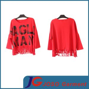 Trendy Red Long Sleeves T Shirt Crew Tee Clothes (JS9020) pictures & photos