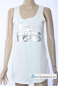 Lady′s Loose Fit Tank Top with Silver Printing (BG-T129) pictures & photos