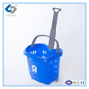 55L Rolling Plastic Shopping Basket with Telescopic Handles for Wholesale pictures & photos