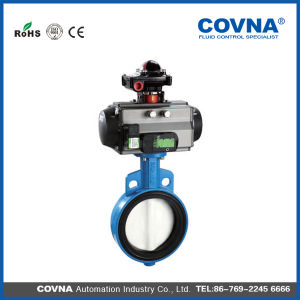 Strong Acid and Base Pneumatic Butterfly Valve with Limited Switch pictures & photos