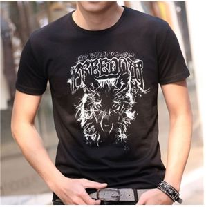Summer Cotton T-Shirt in Black Color with Printing for Men