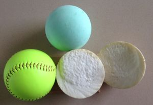 "12"" PU Core PVC White Leather and PVC Luminous Yellow 1 Leather Softball"