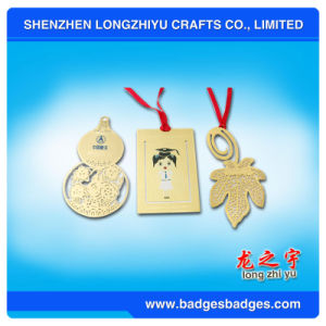Bookmark with Ribbon Custom Metal Bookmark Paper Clip Gold Souvenirs pictures & photos
