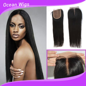 Quercy Hair Lace Closure Wholesale 3.5X4 Middle Part Cheap Lace Closure Stock Straight Brazilian Virgin Human Hair Silk Base Closures Pieces pictures & photos