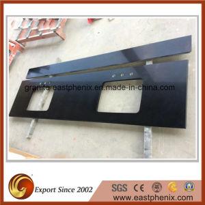 Polished Black Quartz Stone Kitchen Countertop pictures & photos