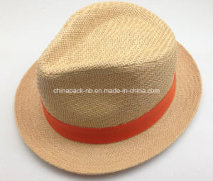 New Style Paper Straw Fedora Hats with Ribbon (CPA-15-015) pictures & photos