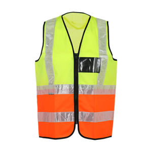 High Visibility Workwear Reflective Safety Vest with Black Pocket