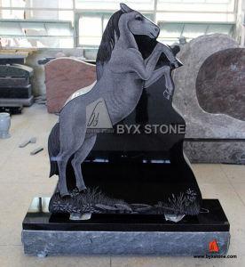 Black Natural Stone Granite Horse Design Headstone Monument pictures & photos