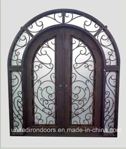 High Quality Eyebrow Top Front Wrought Iron Entry Door (UID-D044) pictures & photos
