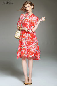 Fashion Elegant Silk Loose Floral Printed Dress pictures & photos
