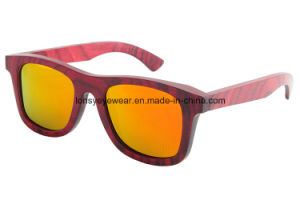 Red Technical Wood Sunglasses with Polarized Lens (LS2003-C10)