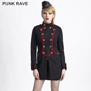 Y-624 Halloween Sexy Military Style Black Gothic Women Long Winter Coats pictures & photos