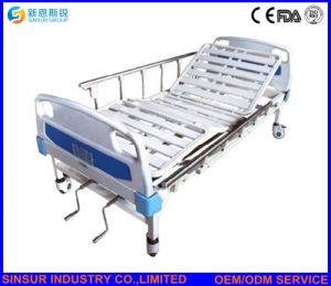 Hospital Furniture Manual Double Crank/Shake Steel-Strip Hospital Beds Medical Bed pictures & photos