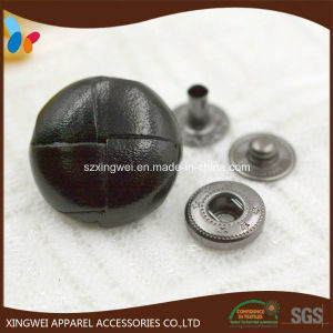 Black Leather Spring Snap Button for Coat pictures & photos