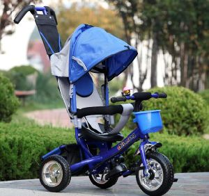 China Good Quality 4 in 1 Pedal Trike, Child Push Tricycle in Blue pictures & photos