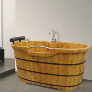 Hotel Bathroom Freestanding Wooden Soaking Bath Tub (NJ-008A) pictures & photos