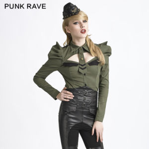 Y-625 Green Uniform Style Long Puff Sleeve Blouses for Women pictures & photos