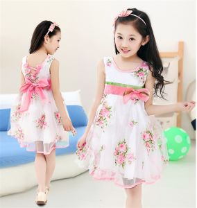 Sweet Sleeveless Bow Knot Rose Pattern Princess Dress pictures & photos