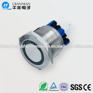 22mm 1no 1nc Resetable Self-Locking Flat Ring Illuminated IP67 Ik10 Push Button Switch pictures & photos