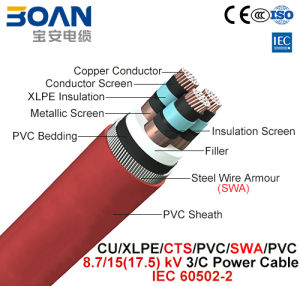 Cu/XLPE/Cts/PVC/Swa/PVC, Power Cable, 8.7/15 (17.5) Kv, 3/C (IEC 60502-2) pictures & photos
