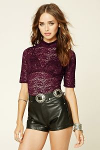 Fashion High Collar Slim Lace T Shirt pictures & photos