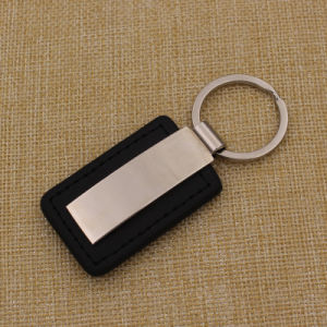 2015 Cheap Custom Black Leather Key Ring with Laser Logo pictures & photos