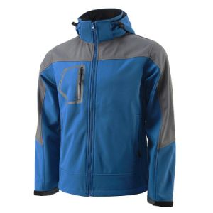 Unisex Custom Blue Embroidered Softshell Jacket with Hoodie pictures & photos