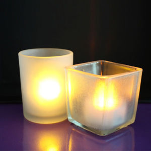 Flameless Light Battery LED Candle Glass Holder for Decoration