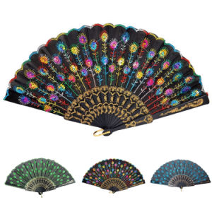 Embroidered Peacock Pattern Sequin Fabric Hand Fan Decorative Vintage Oriental Folding Fans pictures & photos