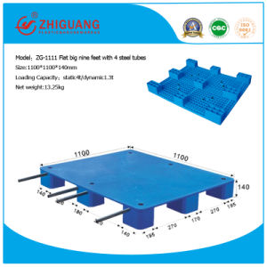 Warehouse Products Plastic Tray 1100*1100*140mm Flat Big 9 Feet HDPE Plastic Pallet for Transport (with 4 steel tubes) pictures & photos