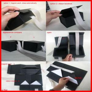 Black Cardboard Boxes for Shirts Packaging with Bow pictures & photos