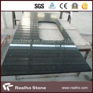 Popular Black Glass Quartz Stone Countertops for Kitchen