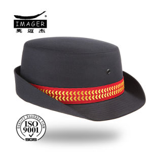 Black Bowler Cap with Red Decoration Ribbon and Gold Embroidered pictures & photos
