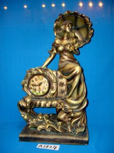 Desktop Clock with Resin Lady Stand for Home/Hotel Decoration pictures & photos
