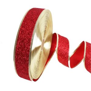 Red Glitter Wired Ribbon for christmas Decorative pictures & photos