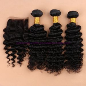 Indian Virgin Hair with Closure Beach Waves 4X4 Lace Closure with Bundles Deep Curly Water Wave Human Hair Weaving with Bundles pictures & photos