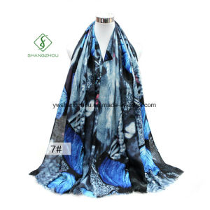 New Design Shawl Printed Butterfly Satin Silk Fashion Lady Scarf pictures & photos