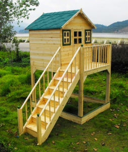Solid Chinese Fir Children′s Playhouse with Stair Outdoor Playground Equipment pictures & photos